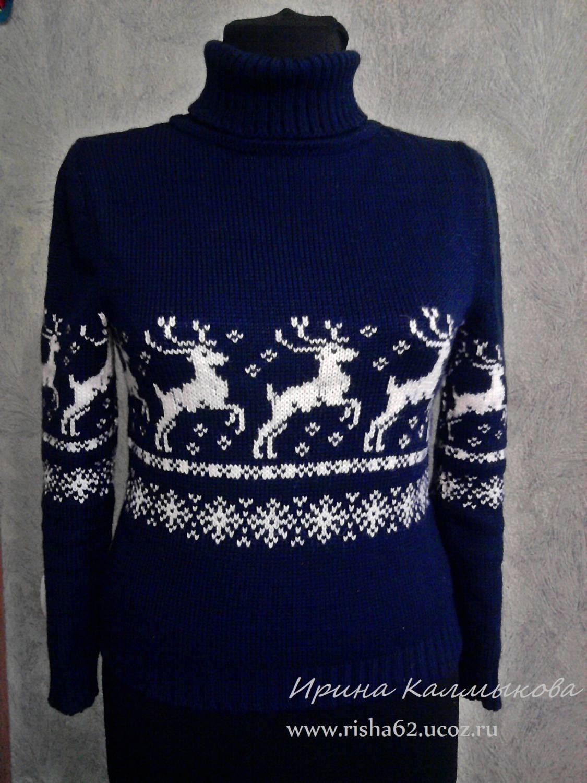 Вязание мужского свитера с оленями на спицах